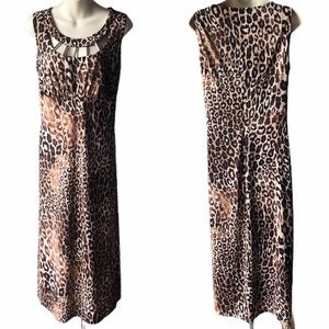 Slinky Brand Sleeveless Leppard Print Dress - LG